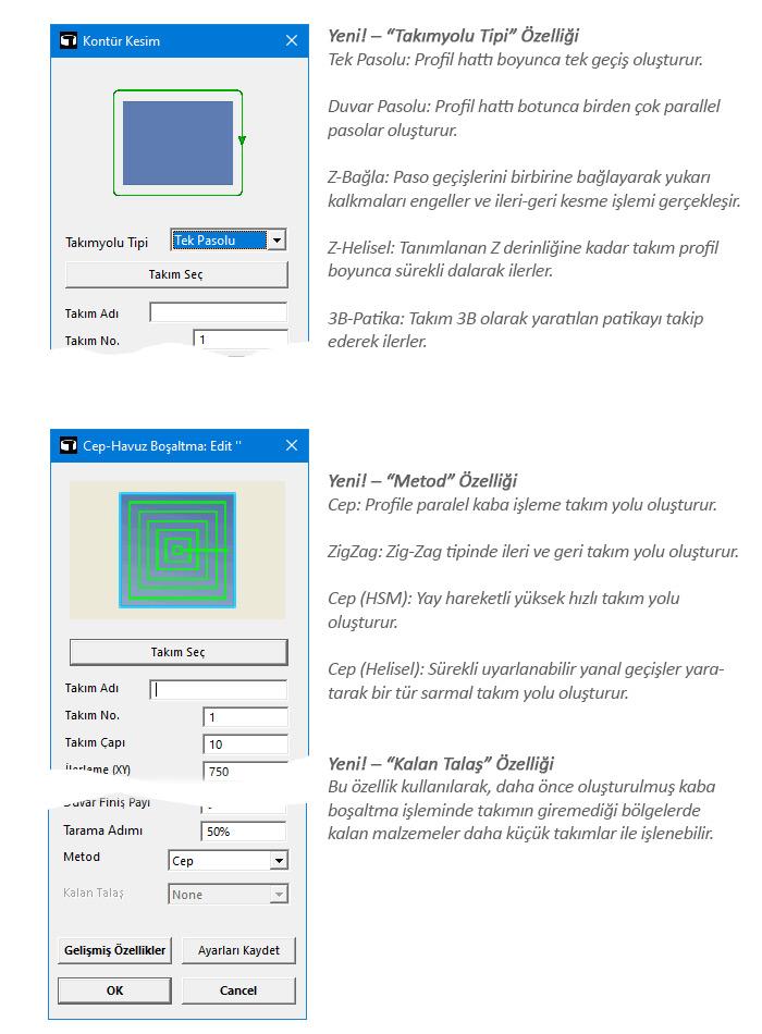 Geliştirilmiş 2.5D Makinalama Otomasyon Sihirbazları